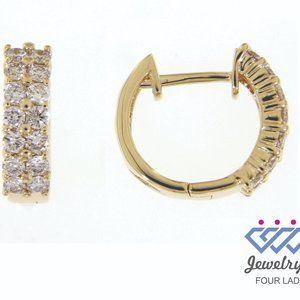 Diamond 2 Layered Huggies Earrings 14K Yellow Gold